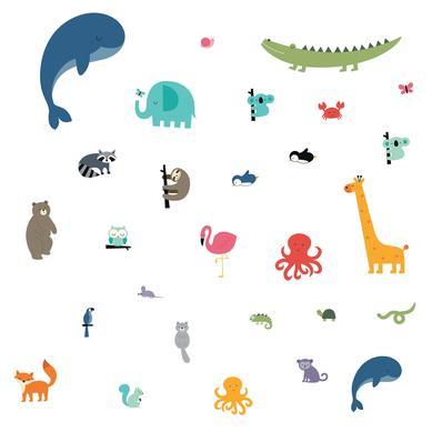 Duvar Stickerı Hayvanlar Dünyası