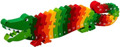1'den 25'e Ahşap Puzzle Oyuncak Timsah 3 Yaş+