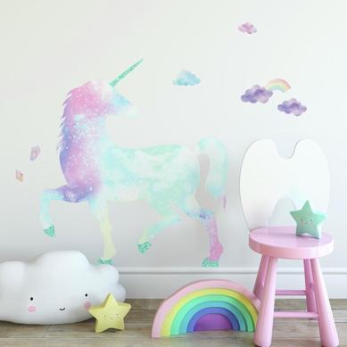 Büyük Boy Duvar Stickerı Unicorn Dünyası