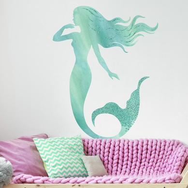 Büyük Boy Duvar Stickerı Pırıltılı Deniz Kızı